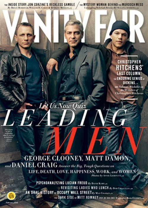 The Leading Men (George Clooney, Matt Damon and Daniel Craig)  on the Vanity Fair Cover for February 2012 Issue