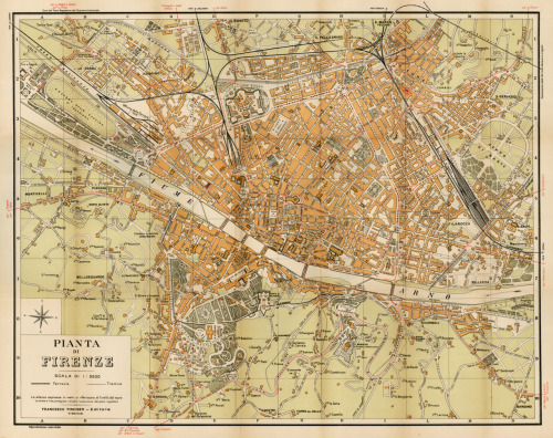 Francesco Pineider, 1925, Guide & City Plan for Florence, Italy