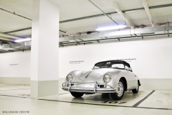 porschelove:  Porsche 356 Speedster sleeps quietly in the underground parking lot of Porsche Museum in Stuttgart, Germany. Photo by Willem de Zeeuw.