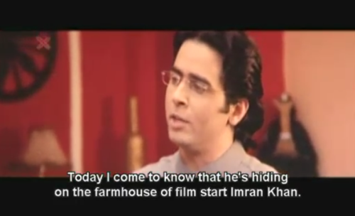 """Today I come to know that he's hiding on the farmhouse of film start Imran Khan.""Three points to make about this:There's a big difference between ""on"" and ""in,"" especially when the purpose of the statement is to indicate someone is concealed. However, I do like the idea of the lead of this story trying to hide by acting like a weathervane. He grew up on a farm, so maybe that's what came naturally to him.imdb indicates that Imran Khan had only done a few films as an adult when this movie came out, so perhaps it's fair to call him a ""film start."" I hope Delhi Belly has firmly cemented him as a ""film middle.""(Desh Drohi, 2008)"