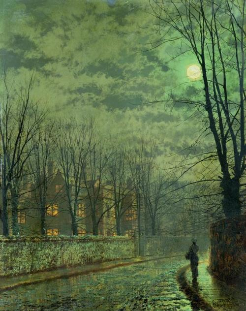 isensualist:  John Atkinson Grimshaw  Going Home By Moonlight