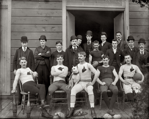 "lostsplendor:  Football Team, c. 1900 (via Animal House: 1900 | Shorp)  ""Football team."" Circa 1895-1910, location unknown. ""James"" written on negative. Detroit Publishing Co. glass negative, Library of Congress."
