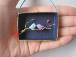 nicolenicoletta: Two Love Birds on a Tree Branch- Assemblage Art Box 3-D miniature  diorama featuring hand-painted birds, landscape, wire tree branch
