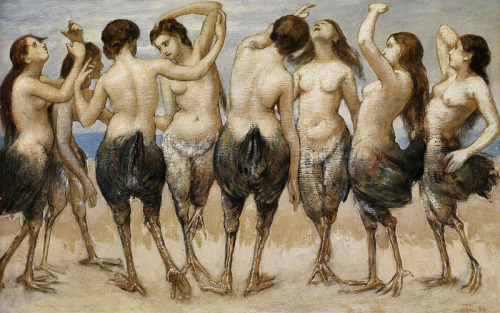missfolly:  Women Dancing in Bird Bodies, 1886, by Hans Thoma