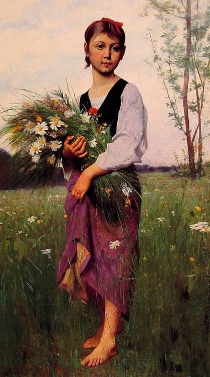 The Flower Picker, by François-Alfred Delobbe