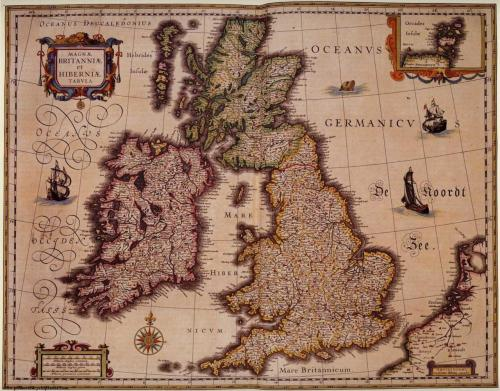Magnae Britanniae et Hiberniae Tabula original map by William Blaeu As seen in 221b in Series 1 & 2 (here)  50 x 38cm. Framed in gold moulding. £1,200 / $1,851 Available here at jmaps.co.uk Prints also available for purchase at probertencyclopaedia.com