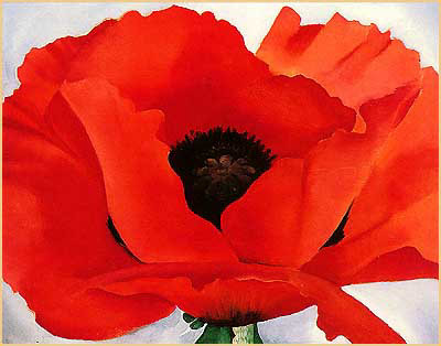 "words-in-lines:  ""Red Poppy"" by Georgia O'Keeffe 1927"