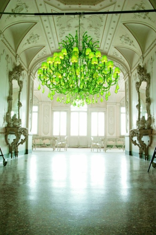 modern chandelier in a palace. touch of envy