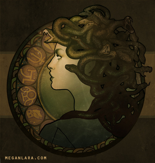 meganlara:  Medusa Nouveau Buy the Print | Buy the Shirt | Artist's Website  It's soooo cool to think I can associate myself with Megan Lara. Hopefully, one day, some of her talent with find its way over to me. In the meantime, I'll just have to console myself with some of her artwork.