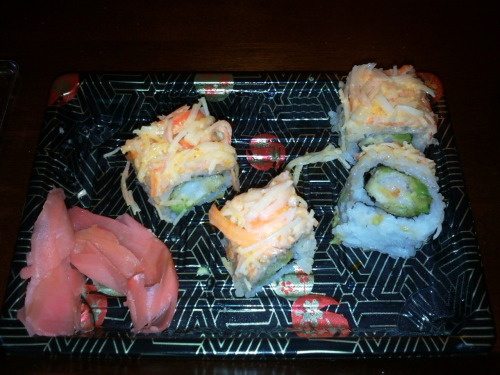 Sweet 16 Roll - Shrimp on the inside, crab on the out, all so delicious. I forgot to take a picture first before eating. #sushi roll#sweet 16#shrimp#crab#delicious#food porn