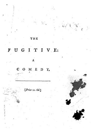Drips of ink. From p. 101 of False Colours: A Comedy in Five Acts* by Edward Morris (1793).  *Title as given by Google Books. Book is a bound volume of a number of plays. Ink splatter on the title of The Fugitive: A Comedy by Joseph Richardson (1792).