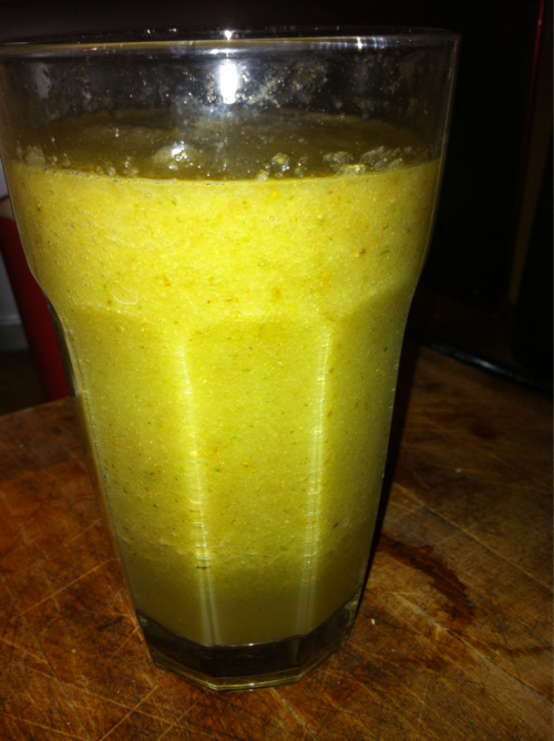 thereluctantrawfoodist:  Tonight's smoothie Recipe: 3 pears, 4 celery sticks, half a cucumber, big lump of fresh ginger root, and water.