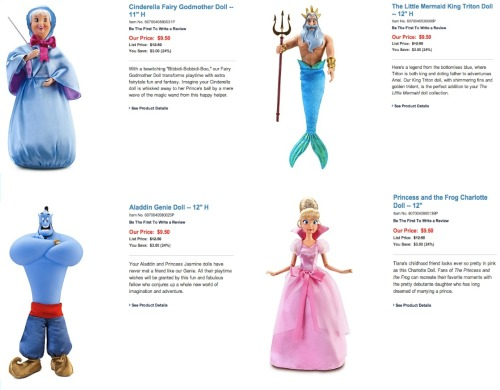 tonis-le-mot-juste:  Disney Store's Fairy Godmother, King Triton, Genie, and Charlotte La Bouff dolls on discount!!! Nabbed Triton, Charlotte, and Godmother immediately! Cannot for them to arrive :)