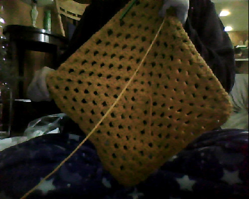 Spicy mustard yellow for the beginning of this blanket. Also, Saturday in pjs. -Topknot
