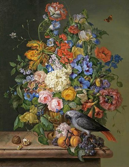 Franz Xavier Petter Flowers and a Blue-Fronted Amazon Parrot 1830