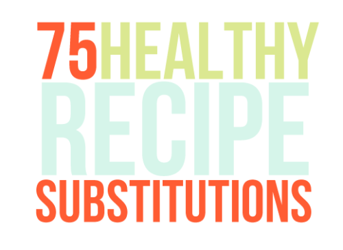 "matchstickmolly:  75 Healthy Recipe Substitutions From this article from The Greatist! In Baking 1. Black beans for flour Substituting a can of black beans (drained and rinsed) for flour in brownies is a great way to cut gluten while getting in an extra dose of protein— and they taste great. 2. Whole wheat flour for white flour In virtually any baked good, replacing white flour with whole wheat can add a whole new dimension of nutrients, flavor, and texture. Because whole wheat includes the outer shell of the grain, it provides an extra punch of fiber, which aids in digestion and can even lower the risk of diabetes and heart disease. 3. Unsweetened applesauce for sugar Using applesauce in place of sugar can give the necessary sweetness without the extra calories and, well, sugar. While 1 cup of unsweetened applesauce contains only about 100 calories, a cup of sugar can pack more than 770. Perfect for oatmeal raisin cookies. 4. Unsweetened applesauce for oil or butter Don't knock this one till you've tried it. The applesauce gives the right consistency and a hint of sweetness without all the fat of oil or butter. This works well in any sweet bread, like banana or zucchini, or in muffins (like in these low-fat blueberry muffins), including pre-boxed mixes. 5. Almond flour for wheat flour This gluten-free switch gives any baked good a dose of protein, omega-3s, and a delicious nutty flavor. Check out these classic butter cookies for a simple example. 6. Avocado puree for butter They're both fats (albeit very different fats) and have nearly the same consistency at room temperature. The creaminess and subtle flavor of the avocado lends itself well to the texture of fudge brownies and dark chocolate flavorings. Check out this recipe for an idea of the right proportions to use. 7. Brown rice cereal and flax meal for Rice Crispies Brown puffed rice has the same texture as conventional white rice, but with half the calories. The flaxadds extra fiber, omega-3 fatty acids, and phytochemicals to the mix without changing the flavor. 8. Marshmallow Fluff for butter and sugar (in frosting) Replacing the fat and sugar in frosting with marshmallow gets the desired consistency with fewer calories. While 2 tablespoons of Fluff has just 40 calories and 6 grams of sugar (and no fat!), the same amount of conventional frosting can pack up to 100 calories, 5 grams of fat, and 14 grams of sugar. 9. Natural peanut butter for reduced fat peanut butter While it may appear better than traditional Skippy or Jiff, reduced fat peanut butter can actually have more sugar (and a doubly long list of artificial additives) than the original. Natural peanut butter (preferably unsalted) provides the same sweetness without chemical additives. 10. Vanilla for sugar Cutting sugar in half and adding 1-2 teaspoons of vanilla as a replacement can give just as much flavor with significantly fewer calories. Assuming the recipe originally calls for 1 cup of sugar, that's already almost 400 calories cut by leaving out ½ cup of sugar. 11. Mashed ripe bananas for fats The creamy, thickening-power of mashed banana acts the same as avocado in terms of replacing fat in baking recipes. The consistency is ideal, and the bananas add nutrients like potassium, fiber, and vitamin B6. 12. Nut flours for flour A word of caution: Nut flours don't rise the same way as wheat flour so an additional rising agent might be needed when replacing more than ¼ cup of wheat. Many gluten-free blogs detail how to streamline nut-based baking. And while these flours are typically higher in calories and fat, they also have more fiber and protein. 13. Coconut flour for flour High in fiber and low in carbohydrates, coconut flour is a great partial substitute for wheat flour in baking recipes.  Be careful, though— more than 1/4-1/2 cup, and the flour's bitterness can take over. 14. Meringue for frosting Made from just egg whites and sugar, meringue can be a great fat-free substitution for traditional frosting. Feel like going a step further? Take a torch to it. Lightly charring the edges of the meringue can add a nice caramelized flavor. 15. Graham crackers for cookies (in pie crusts) Who doesn't love a fresh baked cookie-crust pie? But next time, refrain from the traditional sugar or Oreo cookie crust and grab the graham crackers. Reduced-fat graham cracker pack about half the calories of the more conventional options. 16. Evaporated skim milk for cream It's the same consistency with a fraction of the fat. Evaporated milk tends to have a bit more sugar (only about 2 grams), but the major drop in fat content is well worth the switch. 17. Stevia for sugar Natural sweetener stevia is lower in calories and up to 300 times sweeter than sugar. But watch the grocery bill, as this fashionable sweetener can also cost up to 5 times as much as granulated sugar. 18. Baby prunes for butter In brownies and other dark baked goods, minced baby prunes make for a perfect butter substitute while cutting more than half the calories and fat. 19. Cacao Nibs for chocolate chips  Those chips? Yeah, they start out as cacao nibs— the roasted bits of cocoa beans that then get ground down and turned in to chocolate. These unprocessed (or at least less processed) treats cut down on the additives and added sugar in chocolate, while also delving out a healthy dose of antioxidants. On the Stovetop 20. Brown rice for white rice When white rice is processed, the ""brown"" bran layer gets stripped away, cutting out essential nutrients (like fiber). Opt for brown rice for a fuller nutritional profile. 21. Quinoa for couscous While couscous is made from processed wheat flour, quinoa is a whole-grain superfood packed with protein and nutrients— and they have almost the exact same texture. 22. Zucchini ribbons for pasta Thin strips or ribbons of zucchini are a great stand in for carb-packed pastas. Plus, it's one excuse to skip the boiling— simply sautee for a few minutes until soft. 23. Olive oil for butter When cooking eggs, this simple switch is a great way to cut down on saturated fats while getting a healthy dose of essential omega 3 fatty acids. 24. Turnip mash for mashed potatoes While 1 cup of mashed potatoes made with whole milk racks up about 180 calories (before the inevitable salt and butter), a cup of mashed turnip (which doesn't need milk or butter to get that creamy consistency) has only 51 calories. Add some fresh herbs in place of the salt and it's a much healthier version of the classic mash. 25. Grated steamed cauliflower for rice Cut both calories and carbs with this simple switch. The texture is virtually the same, as is the taste. 26. Mashed cauliflower for mashed potatoes Just like the turnip mash, mashed cauliflower has only a fraction of the calories of potatoes and it's nearly impossible to taste the difference. 27. Rolled oats for breadcrumbs While breadcrumbs can pack extra sodium, using rolled oats seasoned with herbs is a great way to sneak another whole grain into any meal. 28. Dry beans for canned beans Canned beans are convenient, sure. But they also tend to have excess sodium and plenty of preservatives. Plus, even though the canned versions are dirt cheap, the dried are even cheaper! It may take a little more work (some simple soaking and boiling), but this switch is still worth it. 29. Prosciutto or pancetta for bacon Bacon is often the go-to for that smoky flavor in savory dishes (and in some sweet ones). But opting for a few slices of prosciutto or pancetta can help cut both calories and fat. While bacon has about 70 calories and 6 grams of fat per 2 slices, prosciutto (where 1 slice equals about 2 slices of bacon, size wise) has just 30 calories and 4 grams of fat per slice. 30. 2 egg whites for 1 whole egg One egg yolk holds more than half the recommended daily cholesterol for the average adult. Trading out the yolk for a second white will cut out the cholesterol while doubling the protein. If making a dish that requires more eggs, keeps 1-2 yolks for their rich vitamins A, E, D, and K content, but consider swapping the rest out. 31. Whole wheat pasta for regular pasta Just as with bread, whole wheat pasta beats regular with a higher fiber content and about 50 fewer calories per serving (depending on the brand). 32. Crushed flax or fiber cereal for bread crumbs Crushing a fiber-rich cereal and mixing it with some herbs makes a lower-sodium substitution for traditional breadcrumbs. 33. White meat skinless poultry for dark meat poultry The biggest chicken debate to date: white meat vs. dark meat? The white meat has it beat— lower in calories and fat, higher in protein and iron. 34. Olive oil spray for olive oil from the bottle Oil glugs out of the bottle, leading to overly-greasy dishes. Using a spray bottle is a great way to cut down on oil while still getting the non-stick benefits. A little mist is all that's needed! 35. Egg Beaters for egg yolks A solid substitution for many egg dishes (like omelets or frittatas), this switch is especially rewarding in Hollandaise sauce. To get the richness of the yolk without all the added cholesterol, use an equal amount of Egg Beaters instead when blending up this classic sauce. 36. Bison for beef Higher in B vitamins and lower in fat bison is a great substitute for the ol' beefy standard (when available, of course). 37. Ground Turkey for ground beef Ground turkey (or chicken) is a great substitute for ground beef to cut down on saturated fat and calories. A reminder: because of the lower fat content, ground poultry often ends up drier than beef, but a few tablespoons of chicken stock can solve the problem. 38. Quinoa and ground turkey for rice and ground beef (in stuffed peppers) More protein and antioxidants in the quinoa and less fat in the ground turkey make this an all-around healthier option for this popular side dish. 39. Coconut milk for cream Coconut milk is a great substitute for heavy cream in soups and stews. And don't be turned off by the word ""coconut""— it doesn't taste like the sweetened shredded kind! 40. Spaghetti squash for pasta Roasted and pulled apart with a fork, spaghetti squash is a great low-carb and lower-calorie substitute for pasta. In Sandwiches & Meals 41. Greek yogurt for sour cream Half the fat and calories, yet the taste and texture are virtually identical. Plus, nonfat Greek yogurtoffers an extra dose of lean protein. 42. Arugula, romaine, spinach, and/or kale for iceberg lettuce All greens are not created equal. Darker greens usually mean more nutrients like iron, vitamin C, and antioxidants. Sorry, iceberg's just not cutting it anymore— go out and get some grown-up greens. 43. Pita for bread One 4-inch whole-wheat pita runs around 80 calories and only 1 gram of fat (though there is some variation from brand to brand). Compare that to around 138 calories in 2 slices of whole-wheat bread. 44. Greek yogurt for mayo (in tuna/chicken salad) Add some herbs and a squeeze of lemon juice, and they'll taste almost identical. Plus, this swap can save 60 calories and 8 grams of fat per ounce. 45. Plain Yogurt with Fresh Fruit for flavored yogurt Pre-flavored yogurts often come packed with extra sugar. To skip the sugar rush without sacrificing flavor, opt for plain yogurt (or better yet, plain Greek yogurt) and add fresh fruit and/or honey/agave for a hint of sweetness. 46. Nutritional yeast for cheese The taste and texture are a little bit different, but the creamy gooiness is pretty comparable. Instead of topping that taco with cheddar, try a sprinkle of nutritional yeast for a cheesy flavoring with less fat. 47. Lettuce leaves for tortilla wraps It's not a perfect swap, but forgoing the carbs for fresh lettuce is a fun (and easy) switch that can lighten up any wrap or taco dish. 48. Corn tortilla for flour tortilla Half the calories and fat. 'Nuff said. 49. Nuts for croutons (in salads) Every salad needs that extra crunch. But rather than getting the extra carbs (and often fat and sodium) that come with croutons, try some lightly toasted slivered almonds, pecans, or walnuts. 50. Whole wheat bread for white bread We've heard it all before. Whole grain wheat beats out processed white for a more complete nutrition profile as well as better flavor and texture. 51. Avocado mash for mayo Half a mashed avocado is a great substitute for mayo on any sandwich. Both give some moisture, but avocado packs a big dose of vitamin E and cholesterol-checking monosaturated fat. And while a typical 2-tablespoon serving of mayonnaise has about 206 calories and 24 grams of fat, half an avocado has only 114 calories and 10.5 grams of fat. 52. Sliced tomatoes for tomato sauce (on pizza) Cut out the extra sodium, sugar, and preservatives by replacing jarred tomato sauce with fresh sliced tomatoes. The texture is a bit different, but the flavor becomes much more vibrant and fresh! 53. Frozen or Fresh Fruits for canned fruit Cut down on excess sugar and preservatives by choosing fresh or flash-frozen varieties. For Snacks 54. Veggies for pita (as a dipping tool) Forget the pita. Fresh veggies work as killer dippers with hummus and contain both fewer carbs and more vitamins. 55. Cauliflower puree for egg yolks (in deviled eggs) For that devilish Southern favorite— deviled eggs— try replacing half the yolks in the filling with cauliflower puree. The taste remains the same, as does the texture, but without the extra dose of cholesterol. 56. Quinoa for oatmeal Cooked with milk (cow, almond, hemp— whatever's on hand) and some cinnamon, quinoa makes a great, protein-packed hot breakfast. 57. Edamame hummus for regular hummus While hummus might look innocent from the sidelines, it's on our list of potential dangerfoods, packed with more than 50 calories per 2 tablespoons. That's why switching to an edamame-based hummus can help reduce the danger (read: fat and calories) while still providing a delicious dip. 58. Kale chips for potato chips Who would've guessed that a leafy green could make such delicious chips? When lightly tossed in olive oil and seasoning (salt and pepper, paprika, or chili powder work well) and baked, these curly greens turn into a delightfully delicate crunchy snack with less fat than the classic fried potato chip. 59. Dark chocolate for M&Ms (in trail mix) The problem with most trail mixes? They pack in the sugar-filled, candy-coated chocolate and dried fruit. Instead, make your own trail mix with unsalted nuts and dark chocolate bits (lower in sugar), which are high in free-radical-fighting flavonoids— a benefit that completely outweighs that candy-coated sweetness. 60. Popcorn for potato chips Lower in calories and fat, natural popcorn without pre-flavored seasonings is a great snack alternative to replace those oily, super-salty potato chips. Try made-at-home flavors by adding cinnamon, chili powder, or Parmesan. 61. Steel-cut oatmeal for instant oatmeal Chewy and a little crunchy, these guys are nothing like their instant oatmeal cousins. While rolled oats are— literally— rolled into a flat grain, steel cut oats are diced whole grains that maintain more of their fiber-rich shell. Rich in B vitamins, calcium, and protein, steel-cut oats also lack the added sugar that often comes with instant varieties. 62. Banana ice cream for ice cream No milk, no cream, no sugar… but the same, delicious consistency. It's simple: freeze bananas, then puree. 63. Sweet potato fries for French fries Opting for sweet potatoes rather than the traditional white adds an extra dose of fiber, and vitamins A, C, and B6. Plus, it cuts out roughly 20 grams of carbohydrates per 1-cup serving. Just don't overdo it! 64. Frozen Yogurt for Ice Cream Picking frozen yogurt over ice cream can help cut down fat content! For Condiments & Seasonings 65. Low-fat cottage cheese for sour cream They both add a creamy texture to many dishes, but sour cream is packed with fat while low-fat cottage cheese is packed with protein. 66. Pureed fruit for syrup Both sweeten flapjacks or a nice whole-wheat waffle, but pureed fruit warmed on the stovetop with a bit of honey packs much less sugar than classic maple. Plus it adds a larger dose of antioxidants and vitamins. 67. Herbs or citrus juice for salt You heard it here first: food doesn't need to be salted to taste good! Fresh herbs and citrus juice can provide just as much flavor without the added risks of high sodium content. 68. Garlic powder for salt Just like fresh herbs, garlic powder can provide a flavorful-punch without adding sodium. A word of warning, though: don't mistake garlic powder for garlic salt. 69. Low-sodium soy sauce for standard soy sauce The taste is virtually the same, but choosing a low- or reduced-sodium variety can cut out about X grams of sodium per serving! 70. Homemade salad dressing for bottled dressing By making dressing from scratch at home, it's easy to cut out the added sugar, sodium, and preservatives typically found in pre-made dressings. Try mixing vinegar or lemonjuice and oil in a 2:1 ratio and flavoring with spices like rosemary, thyme, oregano, and pepper! For Drinks 71.  Seltzer water with citrus slice instead of soda Instead of sugary sodas, opt for a glass of sparkling water with a few slices of citrus— grapefruit, lime, orange, and lemon all work well— for a little extra flavor. 72. Skim milk for whole or 2% milk Fewer calories and fat with the same amount of protein makes this switch well worth it. 73. Cinnamon for cream and sugar (in coffee) Cutting out the cream and sugar in favor of a sprinkle of cinnamon can cut up to 70 calories per cup. Plus, cinnamon can boost metabolism. 74. Unsweetened iced tea for juice or bottled teas While delicious and convenient, bottled teas, juices, and sports drinks are packed with sugar and calories. When in the mood for something icy with a little flavor, opt for a homebrewed, unsweetened iced tea. 75. Americano for latte Just by cutting the milk out of that daily latte in favor of hot water, the calorie count drops by more than 150. It's a smart switch, especially by the 4th or 5th cup. There's even more at The Greatist!"