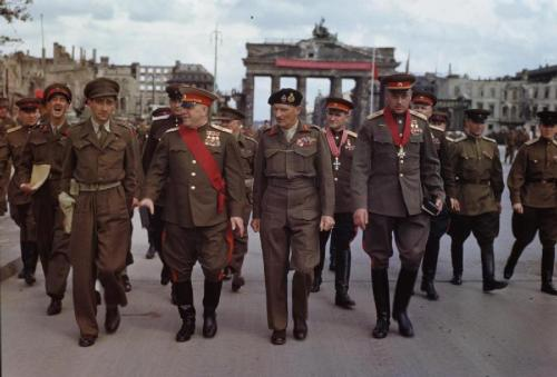 British General Montgomery along with Soviet generals Zhukov, Sokolovsky, Rokossovsky and others at the Brandenburg Gate. Berlin, Germany - July 12, 1945.