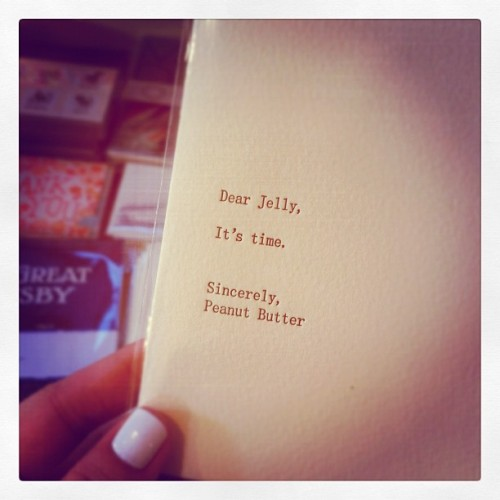 amyblogschow:  Dear Jelly Found my new favorite greeting card by Dear blank please blank at WORD bookstore in Greenpoint today. Photo taken with Instagram