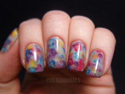 chalkboardnails:  Watercolor NailsFrom a Beautygeeks tutorial OPI Skull and GlossbonesChina Glaze Heli-YumChina Glaze Happy Go LuckyOPI Ogre the Top BlueOPI Funky Dunkey
