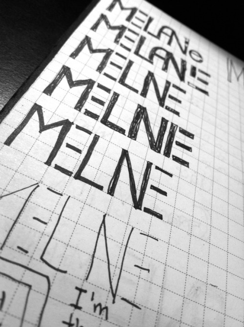 "It's pronounced ""Melanie"" Found some of my sketches for my logo!  This was right before I printed my cards, I had been working on this for quite some time.  I remember that the first time I drew it was on Macy's receipt paper.  I was still working at Estee Lauder my last quarter at Ai and so a lot of my portfolio was done on scrap paper at my counter. Selling lipstick-making logos."