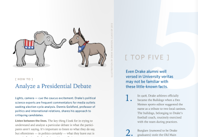 I had a few illustrations in Drake University's Fall 2011 Blue Magazine, and it's available to be read online! Check it out here: http://issuu.com/drakeuniversity/docs/blue_fall2011/1 I uploaded some screen shots of the magazine to my Flickr as well.