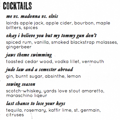 Cocktail list at the ELA in Philadelphia.