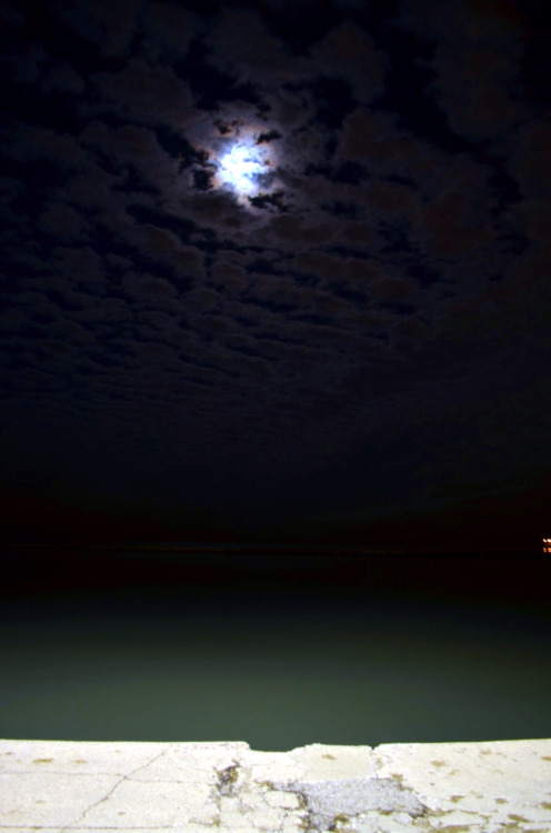 Lake, moon and clouds (: