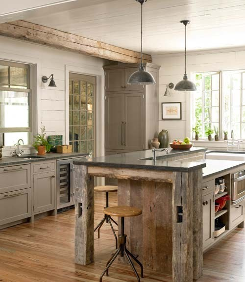 Country rustic kitchen islands