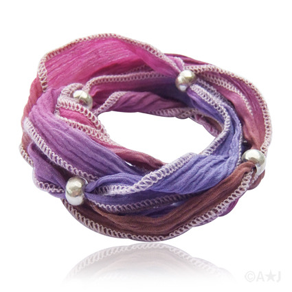 Wristlace wrap bracelet, hand dyed silk with Thai silver beads.