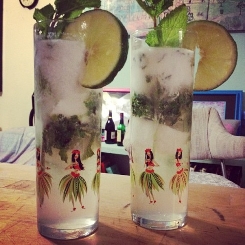 @kgwilkes made us coconut mojitos, complete with coconut milk ice cubes! (Taken with Instagram at Williamsburg)