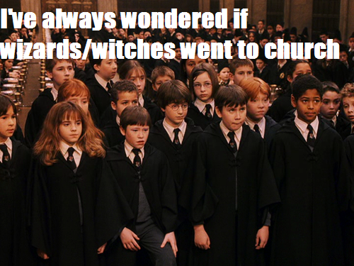 harrypotterconfessions:  graphic submitted.  # I've always figured that witches and wizards have a variety of views on religion, just like in the real world.  There are obviously Christian themes in the books; at the same time, Rowling has said that Hogwarts is a multifaith school. (Source:  http://www.mtv.com/news/articles/1572107/jk-rowling-talks-about-christian-imagery.jhtml) Since James and Lily were buried in the cemetery near a church, I figured that maybe they were members of that church.  However, we can't be sure how regularly they attended, as some people are members of a church but sometimes attend only on holidays while others attend more often.  In addition to all of that, a person might have personal faith or other beliefs even if they don't attend a church or other institution. So, there are lots of possibilities. <via>