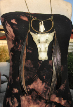 Deer Sacrum Talisman With Bovine Tooth and Rooster Feathers  *FOR SALE NOW!* WWW.ADORENDIMMORTAL.COM
