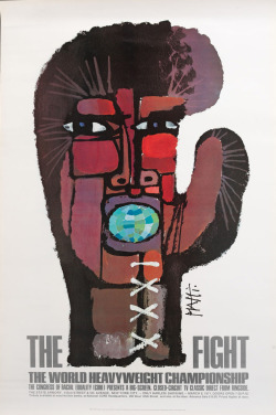The Fight. Poster by Celistino Piatti promoting a private viewing of the March 8, 1971 Muhammad Ali VS Joe Frazier fight. Found here.