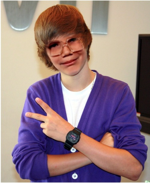 elainalovesjosh:  I Bieber-ized little Hank :) LOL