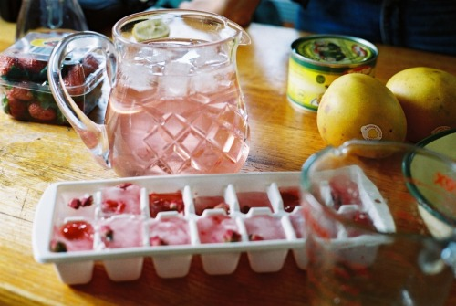 andhoneytheresnohurry:  Rose cocktails with raspberry rosebud ice cubes: white wine, rose water, gin, soda, and crushed raspberries in it.