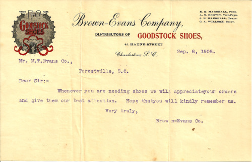 Brown-Evans Company, Distributors of Goodstock Shoes Charleston, S.C. 1908