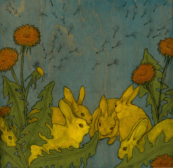 "Dandelion and Rabbits Dandelion and Rabbits, watercolor, acrylic & graphite on wood, 12 x 12"", 2011."