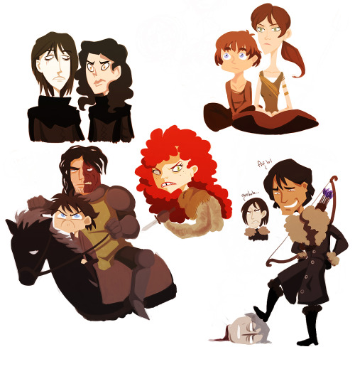 swordinthedarkness:  asoiaf-doodles 3 by spoonybards From the left to right top row: Jon Snow, Satin, Bran, and Meera Reedbottom row: Arya, Sandor Clegane, Ygritte, Jon Snow, Theon, and Gared's head