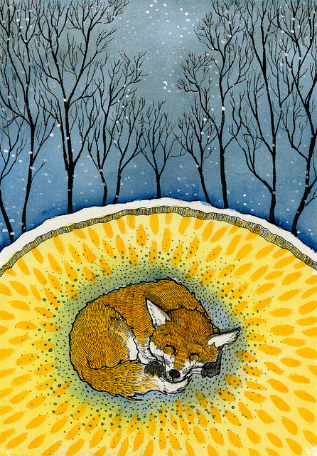 "Hibernating Fox Hibernating fox, pen, watercolor & acrylic ink on watercolor paper, 7 x 10"", 2011. Blogged about here"