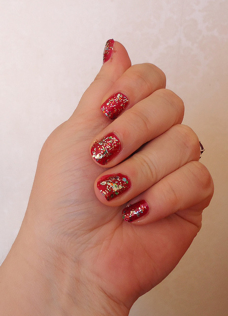Christmas look 3 on Flickr.Ultimate sparkly Christmas nail goodness!