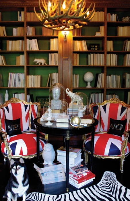 The bold union jack is a nice complement to the neutral books and the classic shape of the bell jars