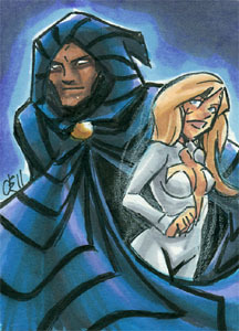 Cloak & Dagger. 2.5x3.5 inch sketchcard, ink & marker. Want one of your own? Check out this post.