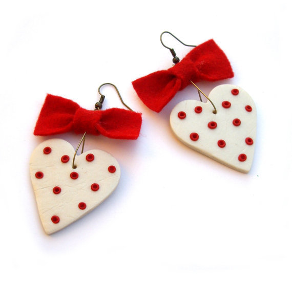 Valentine gift heart earrings valentine heart Red by JPwithLove