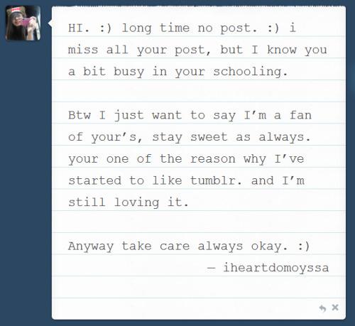 "First fan mail. <3 :"">&& I have a fan? :O kilig naman aketch. <333Thank you so much. :)"