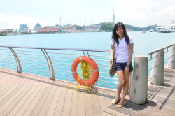 Sea-ngapore Sunlight Date: 29 October 2011 Place: Sentosa Boardwalk Model: Apple Raperoga Camera, Lens: Nikon D7000, VR 18-105 f/3.5-5.6G Settings: 18mm, ISO 640, 1/100s, F/22  On my trip to Singapore, we walked to Universal Studios and this was a small detour. It looked really beautiful at that time. The background is Sentosa Resorts World, the SkyCable, and some Mother Nature. I have a picture of myself in the same background, but I think Apple looks better here. :>