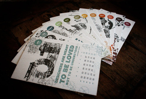 weandthecolor:  2012 Letterpress Calendar by Fabien Barral. More graphic design inspiration. posted byW.A.T.C. // Facebook // Twitter // Google+  I want these so bad!!!