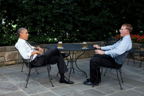 "thedurdydozen:  Sgt. Dakota Meyer and President Barack Obama grab a beer together in the Rose Garden, a request that Meyer made when he was informed that he was going to receive the Congressional Medal of Honor. Sgt. Meyer is the first living Marine to be awarded the Medal of Honor since the Vietnam War. Meyer, a corporal at the time, went against orders to save a dozen Marines and two platoons of Afghan army troops who were ambushed by over 150 enemy combatants. With the help of Staff Sgt. Juan Rodriguez-Chavez and Captain Ademola D. Fabayo, Meyer made five trips into the ambush to save 36 men, and to bring home the bodies of three Marines and a Navy corpsman.  Dakota, I know that you've grappled with the grief of that day; that you've said your efforts were somehow a ""failure"" because your teammates didn't come home. But as your Commander-in-Chief, and on behalf of everyone here today and all Americans, I want you to know it's quite the opposite. You did your duty, above and beyond, and you kept the faith with the highest traditions of the Marine Corps that you love.  —President Obama"