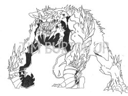 Toy Concept Art from Tim Burton's Superman Lives: DOOMSDAY 「スーパーマン・リヴズ」 の、おもちゃ開発用に描かれたドゥームズデイのコンセプトアート。このデザインにはティム・バートンは関わっていない。 DOOMSDAYAlien lifeform genetically engineered by Brainiac to destroy Superman.Super-adaptive; Can not be defeated in the same way twice.Huge, monstrous form with glaring eyes and razor-sharp claws.Has sharp bony protrusions from head to toe.