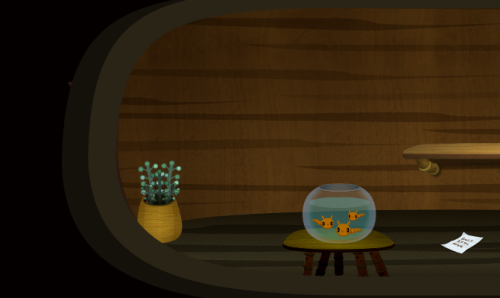Some houses in the firebog have fishbowls in them!  They contain three golden tadpoles, larvae of the Mazza'la salamander. They don't swim around, they just hover in the water and blink a lot.