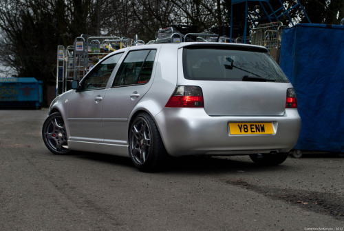 a Nice little Mk4 with smoothed Bumpers, a brow, and some Nice Porsche Rims.. Again in winter mode! so not at its lowest - i will add the car was SPOTLESS.  Thanks to Richard and Ben Photos - Cameron